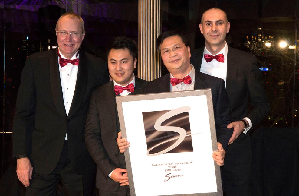 Snooze receiving award